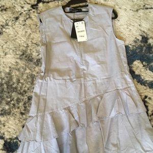 Zara ruffle chambray dress.